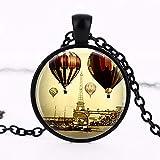 Collar de la Torre Eiffel, joyería de París, globos de aire caliente de Francia, colgante de bronce o cadena de fotos redonda