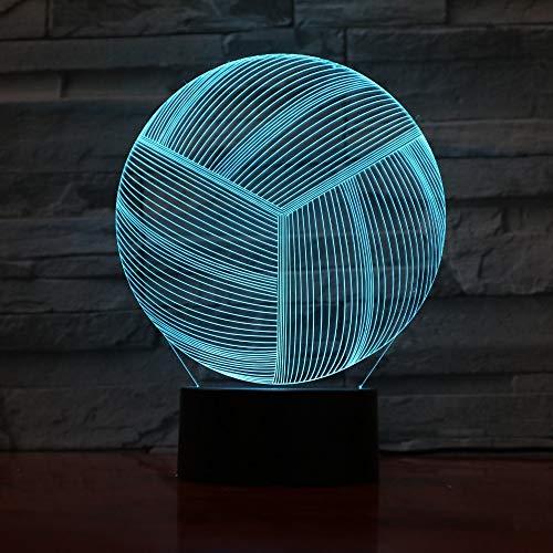 QTYUE 3D Night Light RGB kleurverandering voor kinderkamer, kantoor en camping met acrylbasis, ABS-basis en USB-kabel, 7 verschillende kleuren met kleurbesturing, volleybal