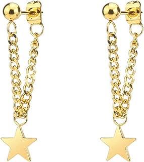 Fusamk Punk Rock Stainless Steel Star Tassel Chain Stud Earrings Drop Dangle Earrings