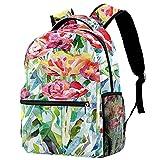 LynnsGraceland Mochila escolar para niñas niños mochila informal bolsa de viaje para senderismo Pintura original de flores de primavera de verano. con múltiples bolsillos
