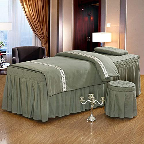 4-teiliges Set Spa Massage Tisch Bettlaken, Korean Beauty Dedicated Sheets Professionelle Massage Bettwäsche Gehobene Massage Bettdecke Weiß 175x60cm