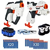 2 Pack Blaster Toy Guns for Boys for Nerf Guns Bullets, Foam Bullet Toy Gun with 50PCS Refill Soft Darts and 2Protective Glasses,2Scarves,2Hand Bands for Kids,Hand Gun Toys for 3-8 Year Old Boys Girls