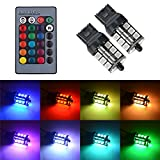 7440 T20 LED RGB Bulb Amber White Red Multicolor 16 Color Changing Brake Lights Turn Signal Reverse Tail Bright Strobe Car Trunk Remote Control Switch Kit Error Free Plug 12V 5050SMD Replacement【1797】