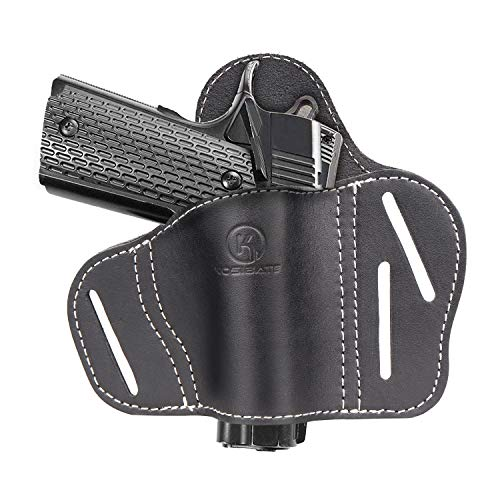 Kosibate 1911 Holster OWB, Leather Pancake Holster Fits All 1911 Style Handguns - Colt 1911 - Sig Sauer - Remington - Ruger & More
