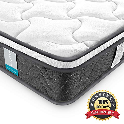 Inofia Queen Mattress, Super Comfort Hybrid Innerspring Double Mattress with...