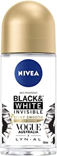 NIVEA Black & White Invisible Silky Smooth Roll On Anti-Perspirant Deodorant, 50ml
