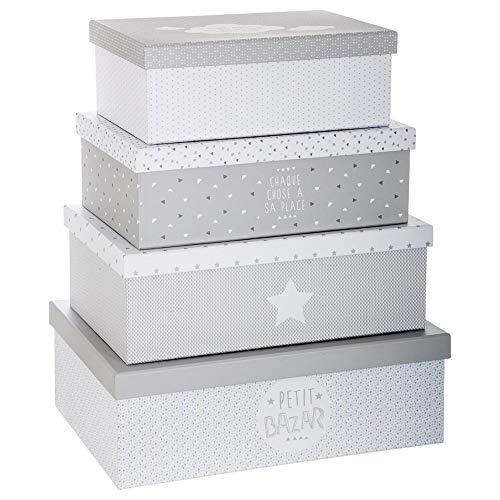 ATMOSPHERA EIN Satz von 4 Boxen für die Lagerung Petit Bazar, Aufbewahrungsboxen, Pappe, Ordnungsbox mit Deckel (Grau)
