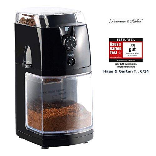 Rosenstein & Söhne Kaffee Mahlwerk: Elektrische Kaffeemühle mit hochwertigem Scheibenmahlwerk (Espressomühlen)