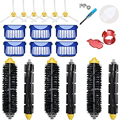 LOVECO Replacement Accessories Kit for iRobot Roomba 600 Series 690 680 660 651 650?Not for 645 655?& 500 Series 595 585 564 552,6 Filter,6 Side Brush,3 Pairs Bristle and Flexible Beater Brush