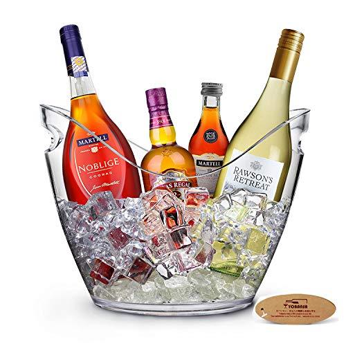 Yobansa 8L Acrylique Grand Seau à Glace, Seaux à Champagne Seau à Champagne Seau à Vin, Récipient De Stockage De Fruits et Légumes (Clear)