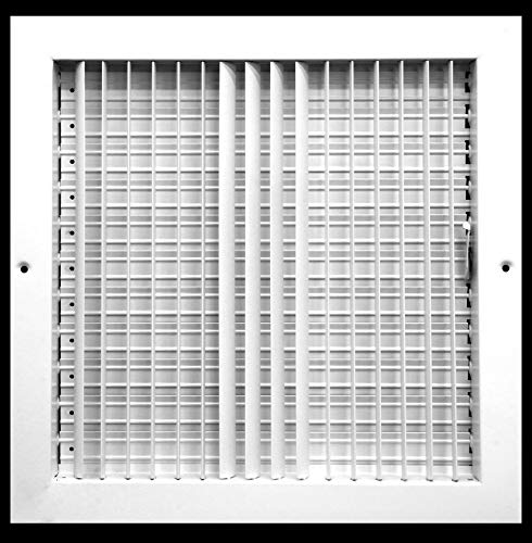 """10""""w X 10""""h Adjustable AIR Supply Diffuser - HVAC Vent Cover Sidewall or Ceiling - Grille Register - High Airflow - White [Outer Dimensions: 11.75""""w X 11.75""""h]"""