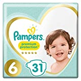 Pampers - Premium Protection - Couches Taille 6 (15+ kg/XL) - Pack Géant (x31 couches)