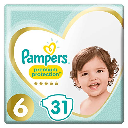 Pampers Premium Protection Windeln Größe 6 (15+ kg/XL) – Riesen-Pack (31 Windeln)