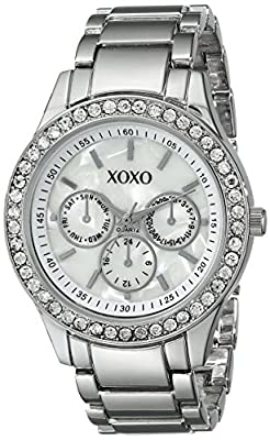 XOXO Women's XO5331 Silver-tone Bracelet With Rhinestones Accent Watch