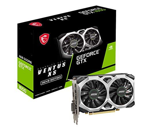 MSI Sistema di raffreddamento a doppia ventola NVIDIA GeForce GTX 1650 D6 VENTUS XS OCV2, scheda grafica 4GB GDDR6, 1620MHz, 128-bit, PCI Express x16 Gen 3, DisplayPort, HDMI, DVI-D