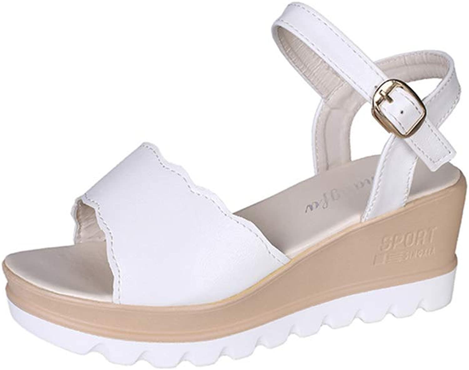 F1rst Rate Womens Strappy Platform Wedge Sandals Open Toe Slingback Mid Heel Summer Sandals
