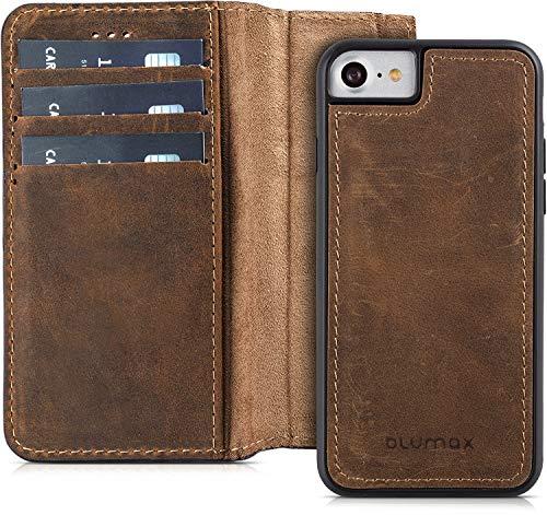 Blumax Echt Ledertasche abnehmbare magnetische Lederhülle kompatibel mit iPhone 8 iPhone 7 und iPhone 6 6s 4,7 Zoll mit Kartenfach Handytasche antik Vintage dunkel Braun