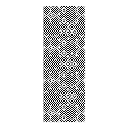 DON LETRA Alfombra Vinílica de 140 x 50 cm para Salón, Cocina, Dormitorio, Baño, Oficina y Tienda, Material Resistente y Lavable, Grosor de 2 mm, Color Blanco y Negro, ALV-029