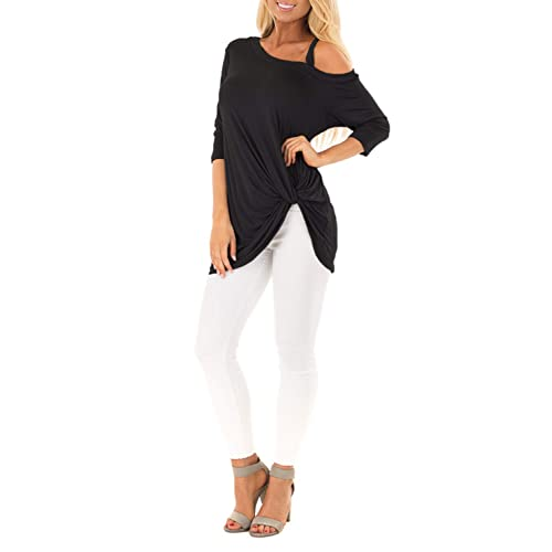 24645004f806e4 BMJL Women s Off Shoulder Tops for Women Front Knot Tops Quarter Sleeve  Pullover Tunic Sweatshirts