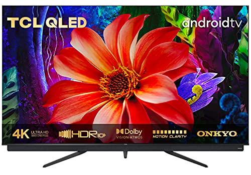 TCL 55C815 QLED-Fernseher (55 Zoll) Smart TV (4K Ultra HD, HDR 10+, Triple Tuner, Android TV, Dolby Vision Atmos, integrierte ONKYO So&bar, Motion Clarity PRO, Google-Assistent und Alexa)