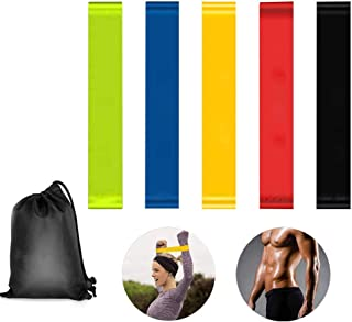 Bandas de resistencia de YuamMei para piernas y glúteos, Bandas de ejercicios para hacer ejercicio en casa, Entrenamiento de fuerza, Yoga, Terapia física y entrenamiento, juego de 5