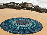 raajsee Mandala Round Beach Tapestry Hippie/Boho Beach Blanket Roundie/Indian Cotton Throw Bohemian Round Table Cloth/Yoga Mat Meditation Picnic Rugs 70 inch Circle (TURQUOISE)