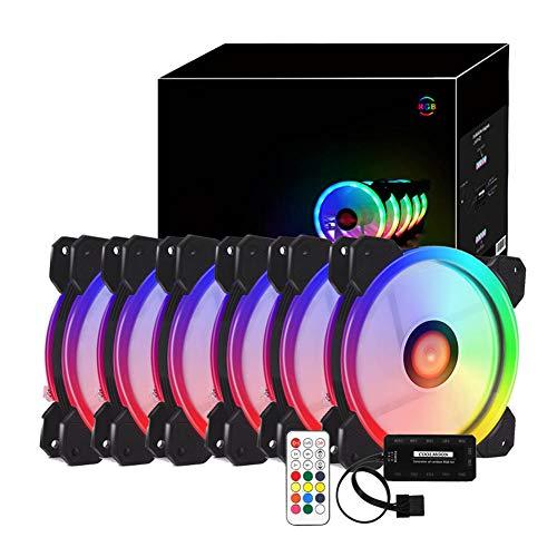 ROKOO RGB PC Fan 12V 6 Pin 12cm Koelventilator met Controller voor Computer Silent Gaming Case