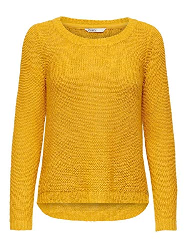 Only ONLGEENA XO L/S Pullover KNT Noos suéter, Amarillo (Golden Yellow Golden Yellow), X-Large para Mujer