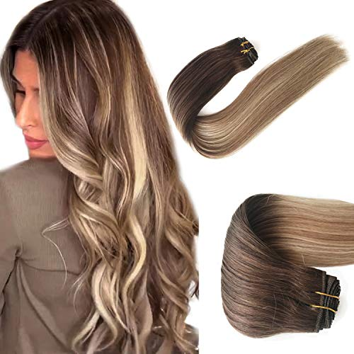Balayage Human Hair Extensions Sew in Hair Weft Real Remy Brazilian Virgin Hair Weave Bundles Brown to Golden Brown with Platinum Blonde Highlights Full Head Natural Silky Straight Thick 80g 14 Inch