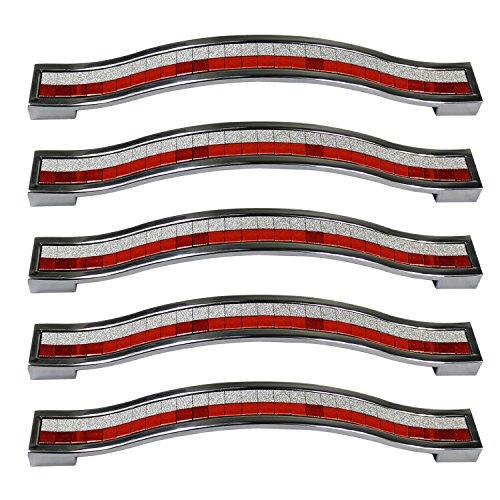 Lot de 5 poignées de tiroir PsmGoods® en alliage strass cristal pour commode armoire de cuisine placard, rouge/blanc, 128MM-5PCS