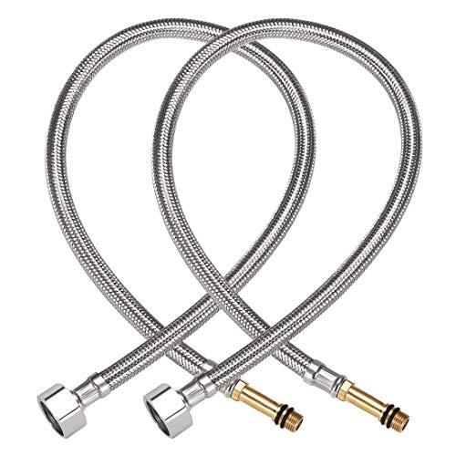 Conector de línea de suministro de grifo 1/2 pulgada IPS hembra X M10 macho 59 pulgadas de longitud 304 manguera de acero inoxidable 2 piezas