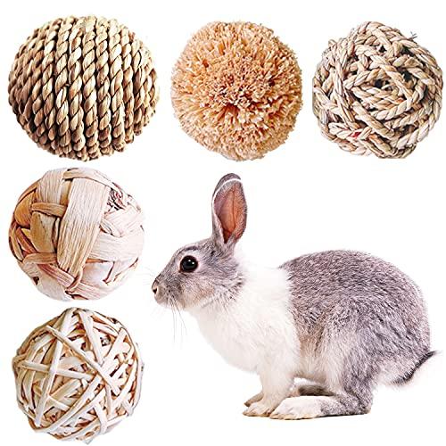 Braleto Naturale Dell'erba Palla, 5 Pezzi Palline da Masticare, Piccoli Animali Palline da Masticare Giocattoli per Conigli Giocattoli per la Cura dei Denti per Piccoli Animali