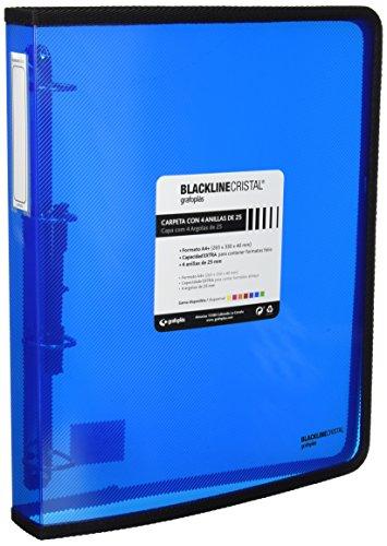 Grafoplás 30120530. Carpeta Anillas Azul A4 +, Polipropileno, 4 Anillas de 25mm, Serie Blackline