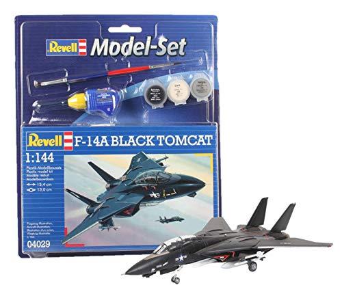 Revell Revell_64029 Modellbausatz Flugzeug 1:144 - F-14A Black Tomcat im Maßstab 1:144, Level 3, originalgetreue Nachbildung mit vielen Details, , Model Set mit Basiszubehör, 64029