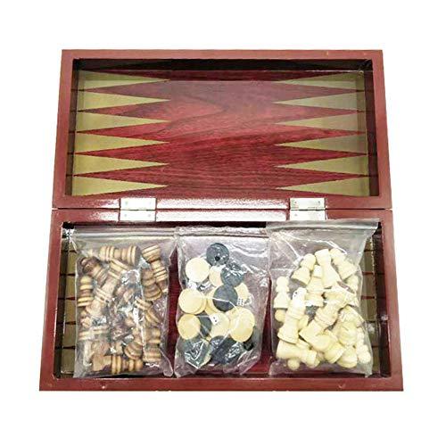 Juego de ajedrez internacional 3 en 1 de 4 estilos, de madera, para regalo de cumpleaños para adultos y niños, tablero de ajedrez plegable (29 x 29 x 2,4 cm)