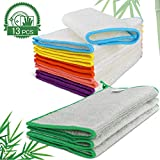 MASTERTOP 13 Pack 100% Bamboo Dish Cloths Cleaning Cloth and Dishcloths Sets Super Absorbent Towels Soft Durable and Eco-Friendly, 3 Pack(9 x 9 Inch) and 10 Pack(9 x 7 Inch),6 Color