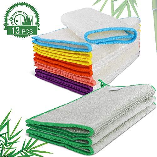 MASTERTOP 13er Bambus Putztücher für Küche Haushalt und Fenster Reinigung- Natur Super Saugfähig Bambusfaser Geschirrtücher Reinigungstücher