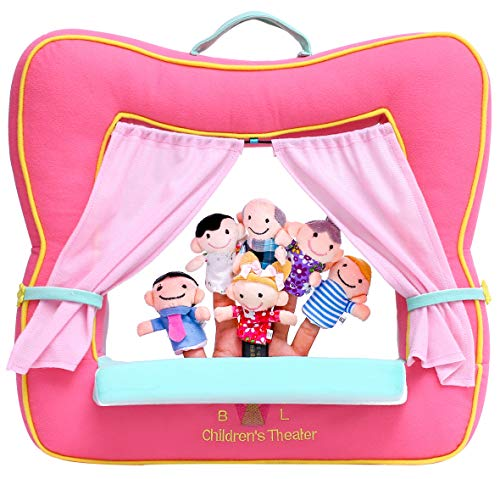 BETTERLINE Finger Puppet Theater Stage by Better Line - Set Includes 6 Finger Family Puppets - Portable Plush Finger Puppet Theater is The Best Preschool Kids (Pink)