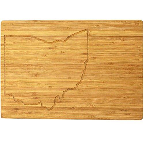 BambooMN - Large Ohio Grooved Image Premium Bamboo Cutting Board - 17' x 11.5' x .75' - 1 Piece