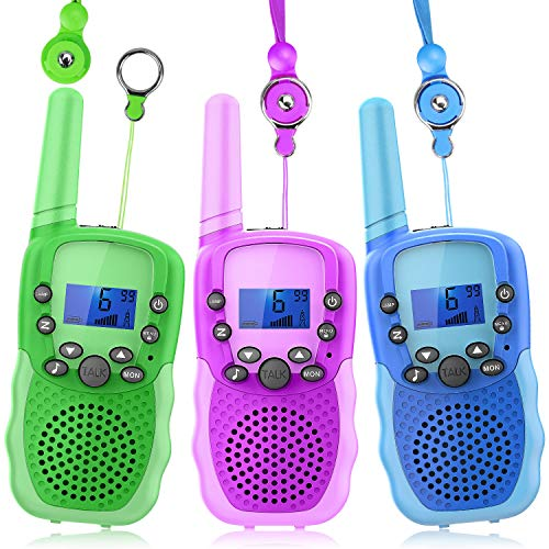 Wishouse Wearable Walkie Talkies 3 Pack for Kids Boy Girl, 2 Way Radio Long Range with Detachable Lanyard Flashlight,Outdoor Camping Games Halloween Cosplay Toy Xmas Birthday Gift for Children