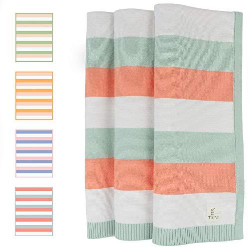 TONI&OTIS Babydecke aus 100% Bio Baumwolle in wunderschönen unisex Farben - Strickdecke ideal als Baby Decke, Kuscheldecke oder Erstlingsdecke - 80x100 cm (Coral)