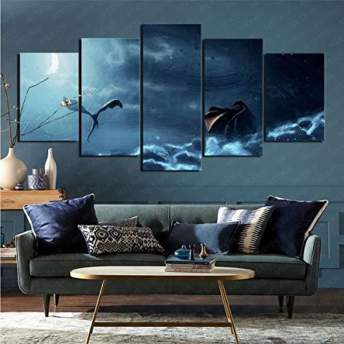 Lienzo impreso 5 series de televisión 'Juego de Tronos' enmarcado para decoración moderna del hogar 50 x 100 cm (enmarcado)