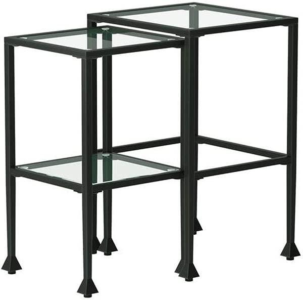 2 件玻璃和金属嵌套表黑色