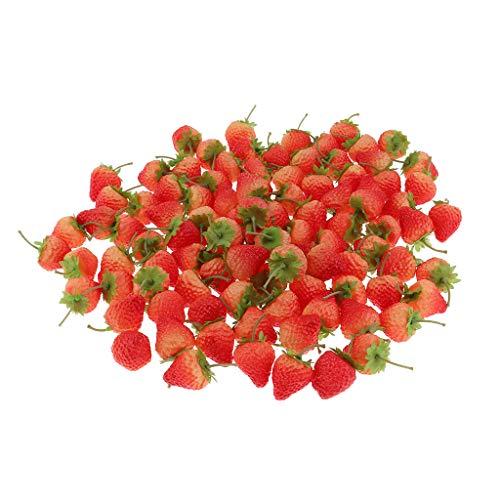 B Baosity 100pcs Kunststoff Erdbeeren Lebensechte Früchte Obst Kunstobst Dekoration