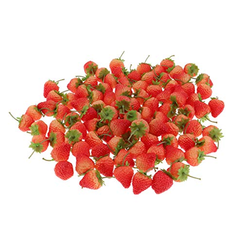 FLAMEER 100 Stück Künstliche Lebensechte Rote Erdbeere Deko Kunstobst Haus Dekoration