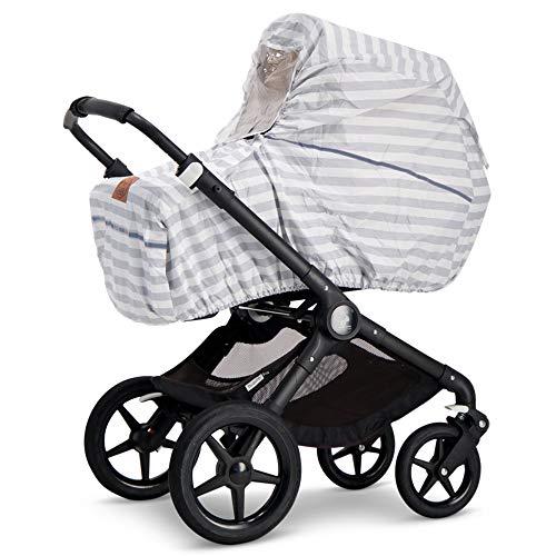 Baby Wallaby Regenschutz für Kinderwagen, skandinavisches Design, Universelle Passform, Sichtfenster, gute Luftzirkulation, Schadstofffrei, 98 x 102 x 0,05 cm (Grau/Weiß Gestreift)