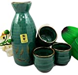 Atlantic Collectibles Japanese 12oz Ceramic Green Wetlands Reed Rice Wine Sake Set Flask With Four Cups
