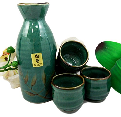Atlantic Collectibles - Juego de frascos japoneses de cerámica verde de 12 onzas con 4 tazas