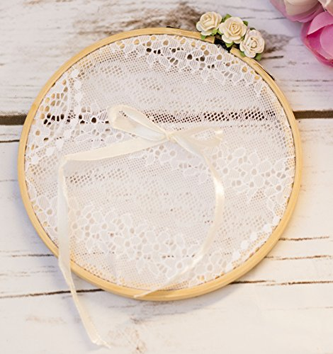 Happy Wedding Art Ringkissen Vintage Hochzeit Ring Vintage Stil Spitze Ehering-Kissen Ringträger Ring-Kissen Braut Bräutigam Ringhalter Eheringe Trauringe Rose