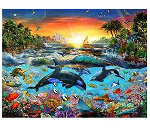 DIY 5D Diamond Painting by Number Kits Dolphin Round Drill,30x20cm Adults and Kids Full Drill Crystal Resin Rhinestone Embroidery Cross Stitch Pictures Arts Craft Canvas for Home Wall Decor Y4503